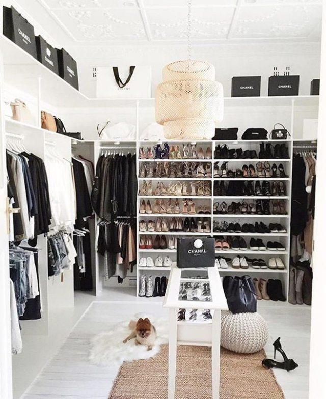 Monochrome walk-in wardrobe