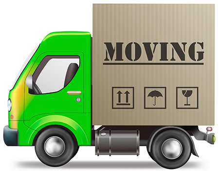 Green moving van illustration