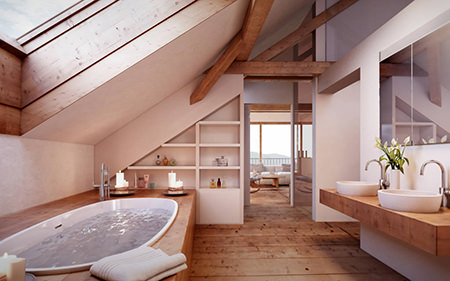 natural styled bathroom with white suite and walls and wooden floor and beams