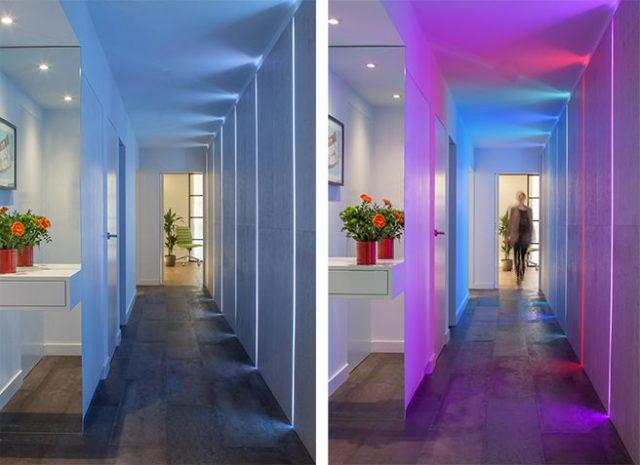 Neon-lit corridor