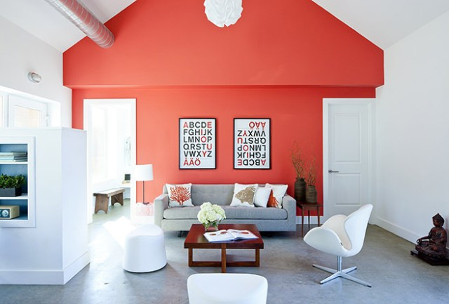 Coral feature wall in a passive house retreat