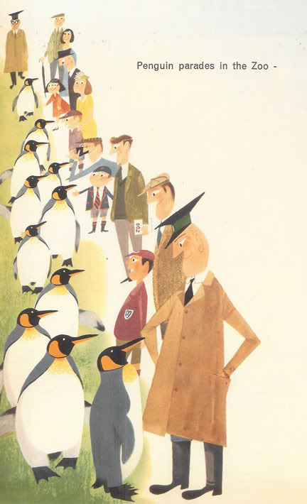 Illustration of penguins from 'This is Edinburgh' by Miroslav Sasek, 1961 | H is for Home