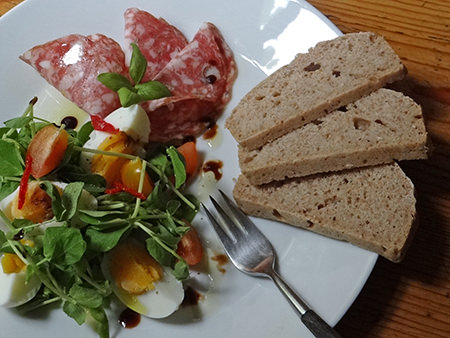 Salad & cold meat platter with Roman bread
