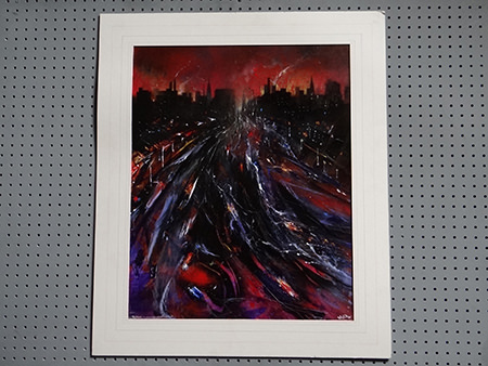 'Skidding icy sunset. Crescent, Salford' original oil painting by David Wild