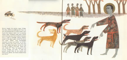 Life of St Martin: 'St Martin with dogs' illustrated by Emile Probst, 1966 | H is for Home