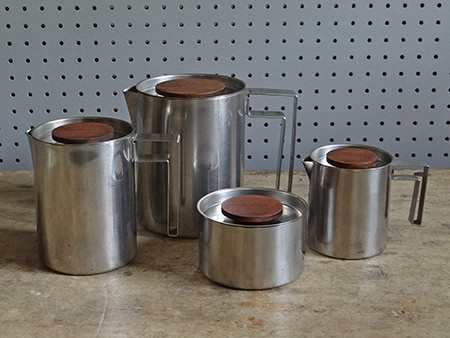 Vintage stainless steel & teak tea set