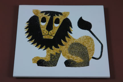 1960s lion tile designed by Kenneth Townsend