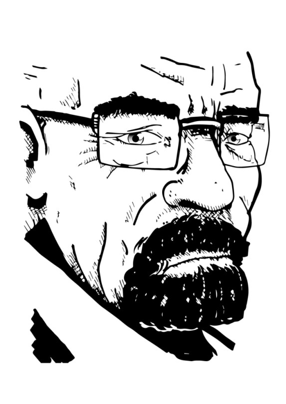 Dessin noir et blanc de Walter White de la série TV Breaking Bad.