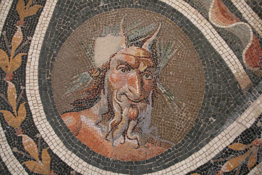 De god Pan op een Romeins mozaïek