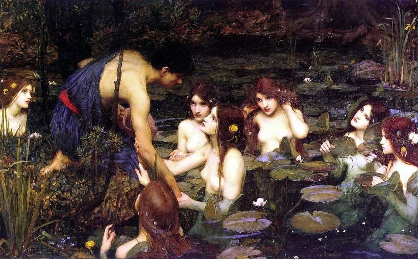 Hylas, de knecht van Herakles, wordt gelokt door de nimfen - John William Waterhouse