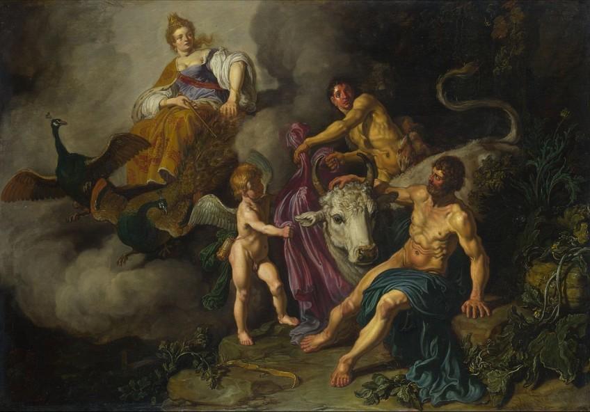 Juno (Hera) betrapt Jupiter (Zeus) en Io - Pieter Lastman