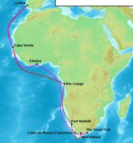 Route van Bartolomeus Diaz naar Kaap de Goede Hoop (heenweg rood, terugweg paars)