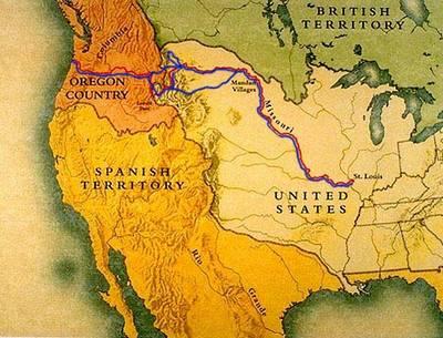Kaart van de route die Lewis en Clark aflegen