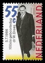 Postzegel uit 1988 ter gelegenheid van de 100st verjaardag van Drees