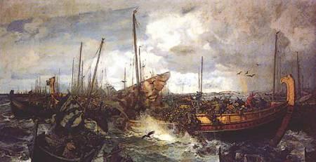 Slag bij Swolder. Schilderij van Otto Sinding (1842-1909)
