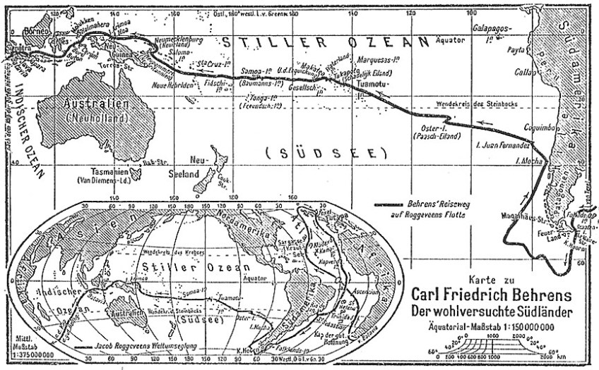 Kaart van Jacob Roggeveen's reis in 1722