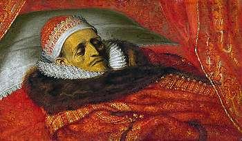 Maurits, opgebaard na zijn overlijden. Werk van Adriaen Pietersz. van de Venne (schilderij in bezit van het Rijksmuseum).