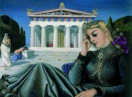 Paul Delvaux – Jeune fille devant un temple (Meisje voor een tempel)