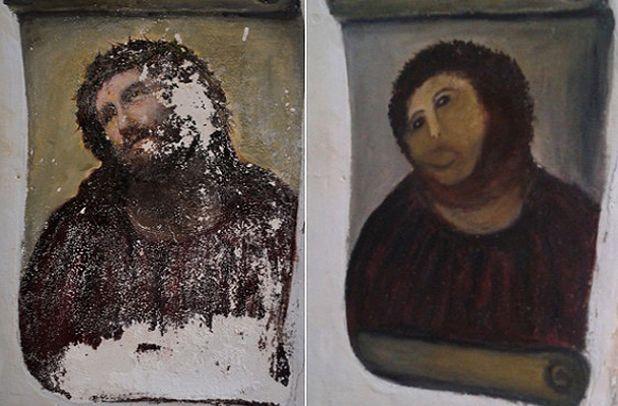 Fresco voor en na de 'restauratie'