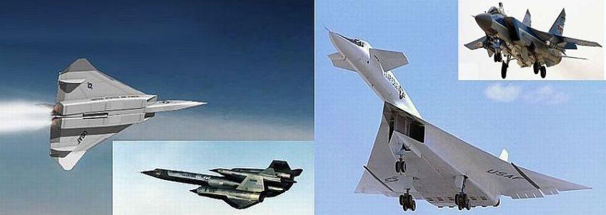 Van links naar rechts: XF-108 Rapier, M21 carrier met D21 drone, XB-70 Valkyrie, MiG-31 Foxhound