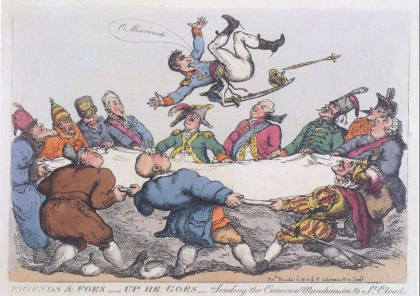 Engelse spotprent met Napoleon als Corsicaanse 'Münchhausen'.