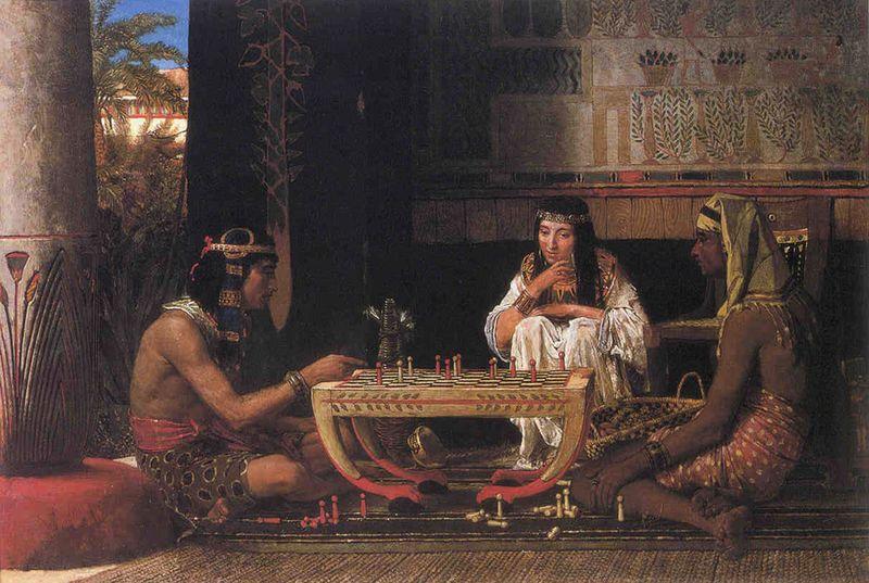 Egyptische schaakspelers, een schilderij van Lawrence Alma-Tadema, 1879