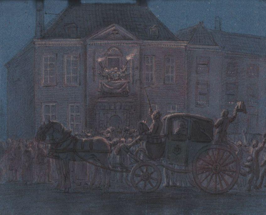 De Prins van Oranje logeerde 30 november 1813 in het huis van Collot d'Escury aan de Kneuterdijk 6 (Dagboek van Baake, collectie Haags Gemeentearchief)