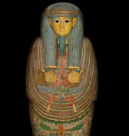 Mummiekist van de Egyptische priester Djedmontefanch - Foto: RMO