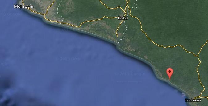 Cleijn Bassa aan de kust van Liberia wordt met een Google-symbool aangegeven.