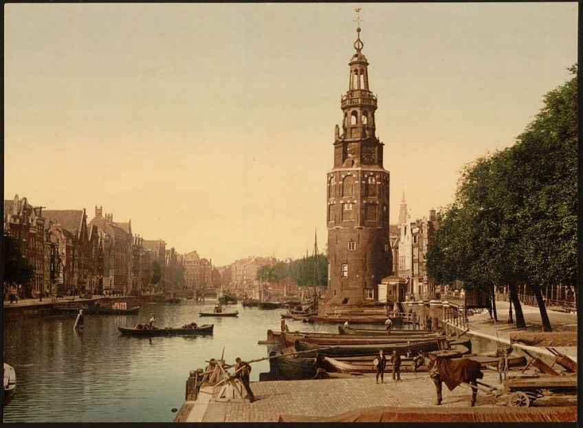 Oude Schans in Amsterdam rond 1890 (Library of Congress)