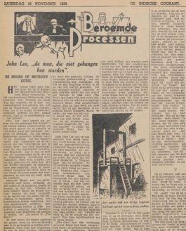 Artikel in de Indische Courant over John Lee
