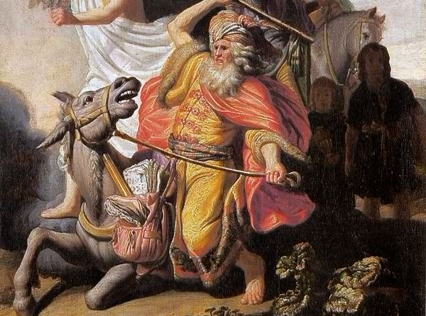 Bileam en zijn ezelin - Rembrandt van Rijn, 1626 (detail)