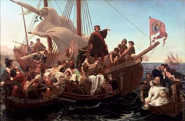 Columbus op zijn schip de Santa Maria, 1492 (Emmanuel Leutze)