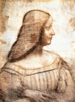 Leonardo da Vinci, portret van  Isabella d' Este met haarnet (1500), 63cm x 46cm. Louvre.