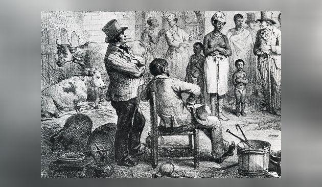 Een slavenmarkt in Suriname. Illustratie P.J. Benoit in 'Voyage à Surinam', 1839