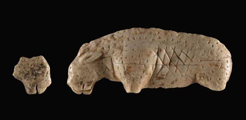 Het leeuwenbeeld, gevonden in de Vogelherd-grot (Universiteit van Tübingen)