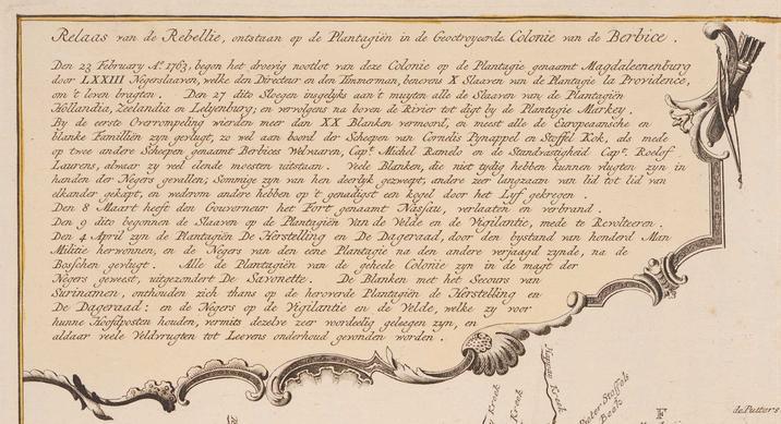 Het 'Relaas van de Rebellie'in Berbice, wqeergegeven op een kaart van de kolonie. (Zeeuws Archief, Zelandia Illustrata 1, inv. nr. 1625.