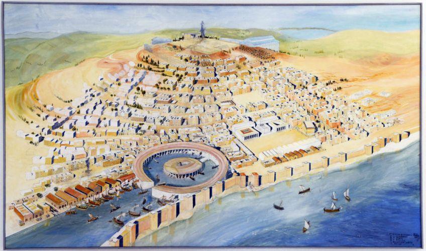 Zicht op de Punische haven van Carthago (Musée national de Carthage, Tunesië)