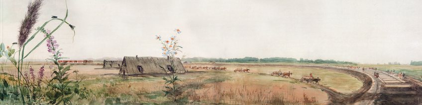 Bielzen leggen, detail panorama Pavel Piasetsky (Hermitage)