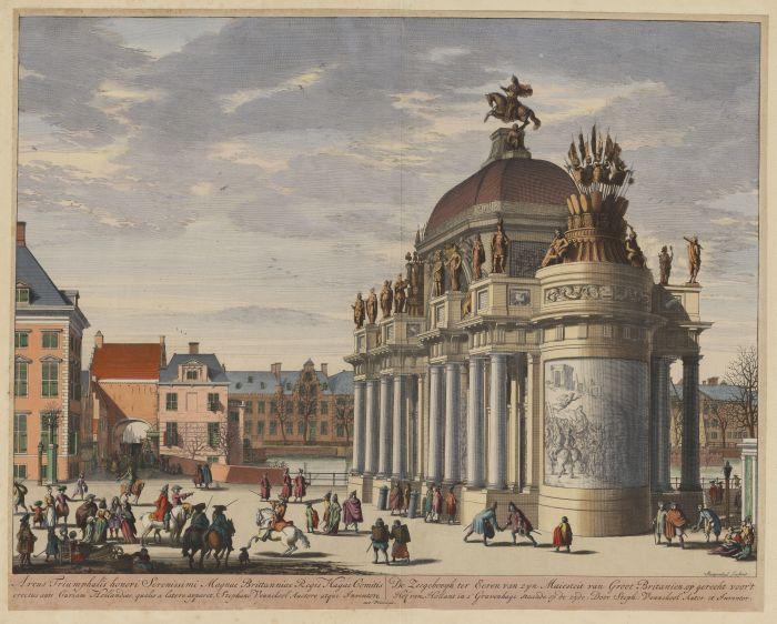 Zeegeboogh ter Eeren van zijn Majesteit van Groot Britanien, op gerecht voor 't Hof van Hollant in 's Gravenhage, staande op de zijde. (15-02-1691) (collectie Atlas van Stolk)