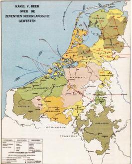 De Nederlanden in 1555, toen Karel V afstand deed van de troon. (Wandplaat)