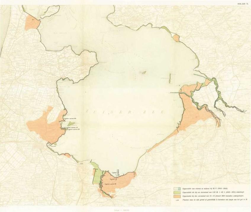 De overstroomde gebieden langs de Zuiderzee. (Rapport Rijkswaterstaat 1916)