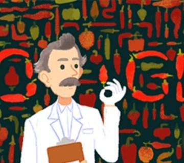 Wilbur Scoville en een hete peper in de Google Doodle