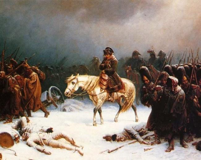 Napoleons terugtrekking uit Moskou. Schilderij van Adolphe Northen (1812).
