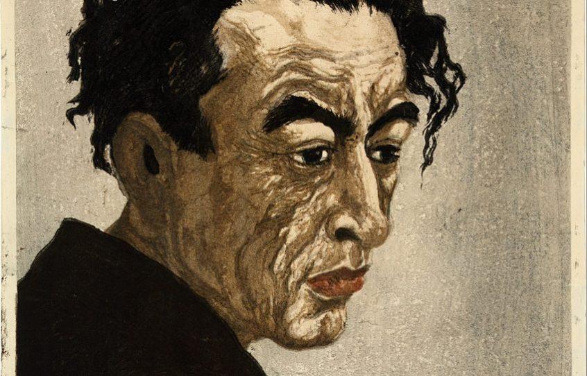 PORTRET VAN HAGIWARA SAKUTARŌ, Onchi Kōshirō (1891-1955). Kleurenhoutsnede op papier, 1949, P0109. Collectie Elise Wessels – Nihon no hanga