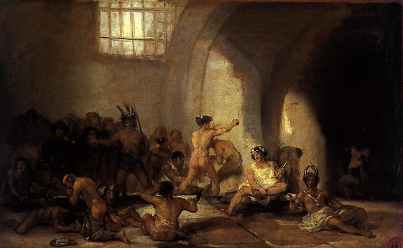 Francisco de Goya, Casa de Locos (1812-1819), olieverf op paneel, 46cm x 73cm. (Koninklijke Academie voor Schone Kunsten van San Fernando/Madrid). Krankzinnigen werden gedurende lange tijd in zalen bij elkaar gestopt, zonder dat er sprake was van enige gecoördineerde zorg. Vooraleer de eerste krankzinnigenwetten medio 19de eeuw in verschillende landen werden ingevoerd, waren dit soort toestanden schering en inslag. Aangezien Italië pas in 1870 werd eengemaakt, nam het oprichten van grote psychiatrische instellingen daar pas een aanvang aan het begin van de 20ste eeuw.