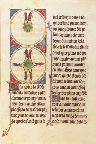 Afbeelding vaneen ronde aarde in Gautier van Metz, L'Image du Monde (1245). Bron: Wikimedia (Eng.)