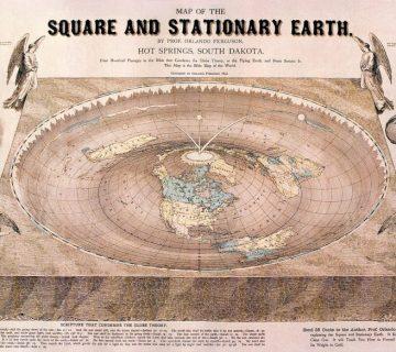 Kaart met een platte aarde, getekend in 1893 door Orlando Ferguson