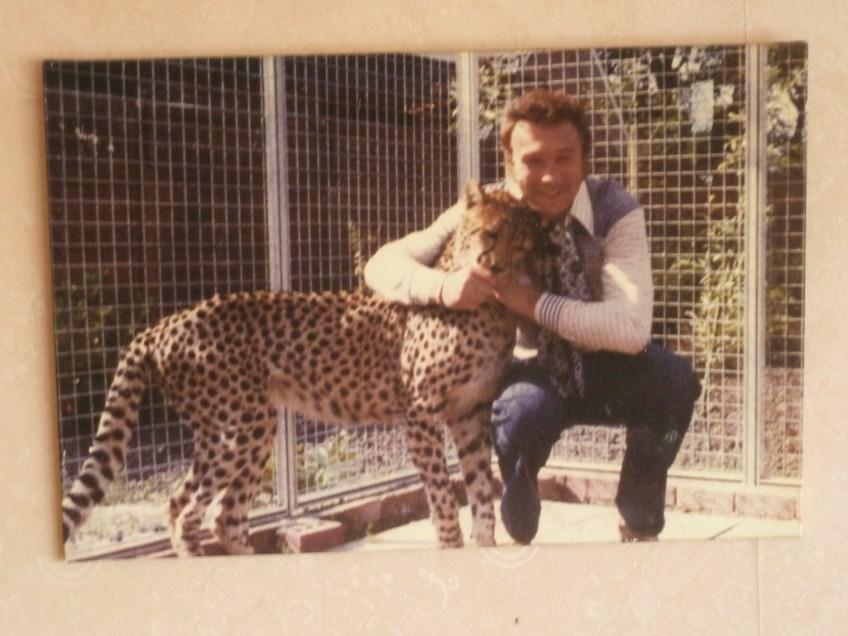 Foto van de Belgische bokser met een luipaard