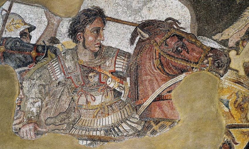 Alexander de Grote in gevecht met koning Darius III, mozaïek - cc